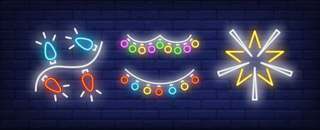 Lights garland and star toy neon signs set. Christmas, New Year Day, celebration design. Night bright neon sign, colorful billboard, light banner. Vector illustration in neon style.