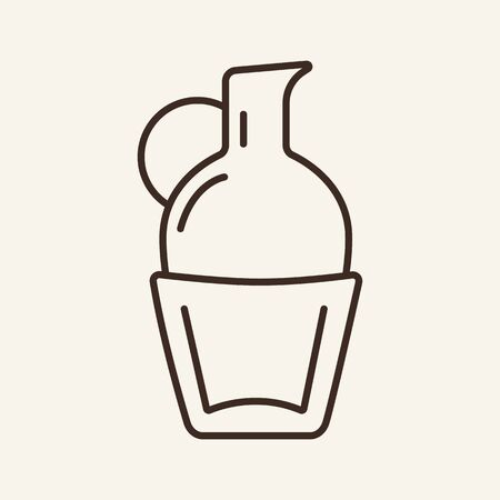Milk jug line icon. Olive oil, pitcher, water. Beverage concept. Can be used for topics like grocery, container, kitchenware Ilustração