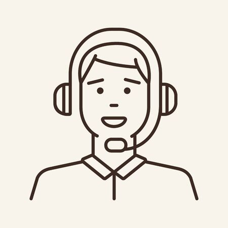 Support man line icon. Man, talking, headset. Telemarketing concept. Can be used for topics like helpdesk, communication, call center