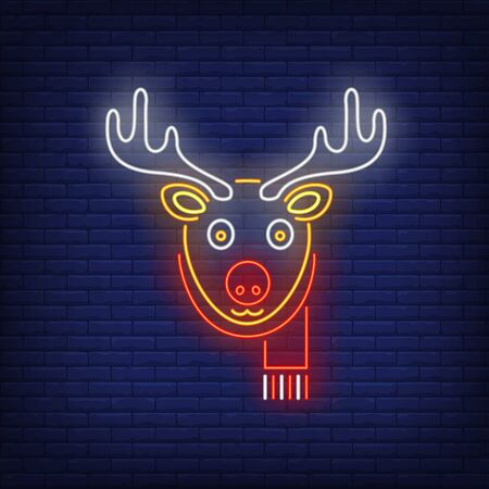 Cute reindeer wearing scarf neon sign. Christmas and New Year Day design. Night bright neon sign, colorful billboard, light banner. Vector illustration in neon style.