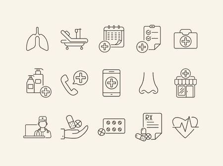 Drug therapy icons. Set of line icons. Ambulance call, prescription, lungs. Medical service concept. Vector illustration can be used for topics like healthcare, medicine, hospital Vectores