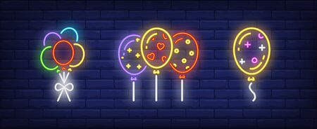 Festive balloons neon signs set. Birthday, anniversary, party design. Night bright neon sign, colorful billboard, light banner. Vector illustration in neon style. Stock Illustratie