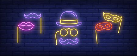 Moustache, lips, masks on sticks and pince-nez neon signs set. Carnival, fun, party, masquerade design. Night bright neon sign, colorful billboard, light banner. Vector illustration in neon style.
