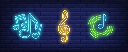 Music notes and treble clef neon signs set. Melody, classical music, sound design. Night bright neon sign, colorful billboard, light banner. Vector illustration in neon style. Stock Illustratie