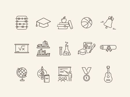School icons. Set of line icons. Chemistry class, diploma, bookshelves. Studying concept. Vector illustration can be used for topics like education, university, scholarship Stock Illustratie