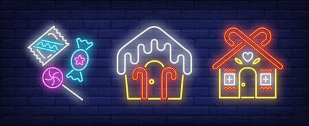 Gingerbread cookie houses with candy canes neon signs set. Christmas, New Year Day, celebration design. Night bright neon sign, colorful billboard, light banner. Vector illustration in neon style. Stock Illustratie