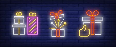 Gift boxes and thumb up gesture neon signs set. Celebration, holiday party design. Night bright neon sign, colorful billboard, light banner. Vector illustration in neon style.