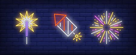 Firework rocket and sparkler neon signs set. Holiday, anniversary, pyrotechnics design. Night bright neon sign, colorful billboard, light banner. Vector illustration in neon style.
