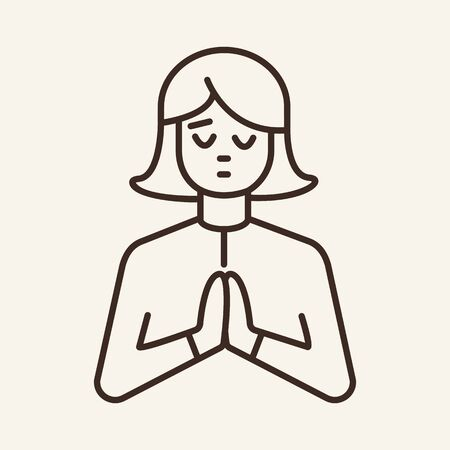 Praying woman line icon. Gesture, begging person, namaste. Spirituality concept. Can be used for topics like Christianity, meditation, faith Illusztráció