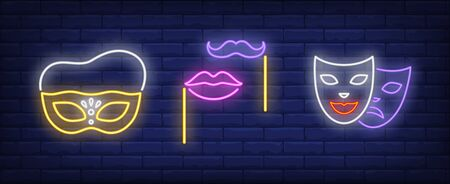 Masks, lips and moustache on sticks neon signs set. Carnival, fun, party, masquerade design. Night bright neon sign, colorful billboard, light banner. Vector illustration in neon style. Stock Illustratie