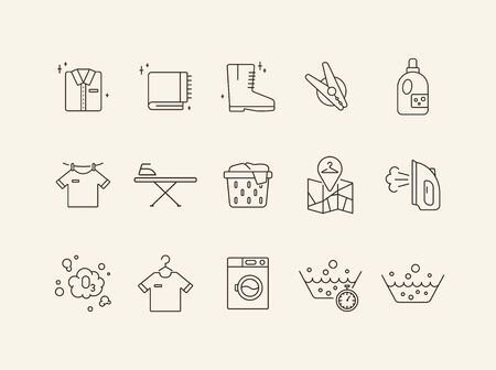 Laundry day line icon set. Clean clothes, washing, detergent. Household concept. Can be used for topics like hygiene, service  イラスト・ベクター素材