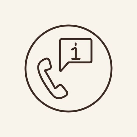 Phone service line icon. Information, consulting, assistance. Customer support concept. Can be used for topics like hotline, call center, communication Illustration