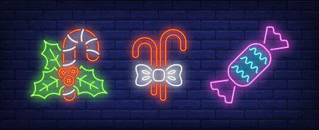 Mistletoe, candy canes and sweet neon signs set. Christmas, New Year Day, celebration design. Night bright neon sign, colorful billboard, light banner. Vector illustration in neon style.