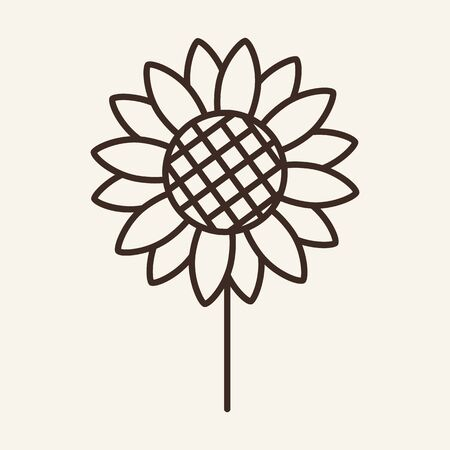 Sunflower line icon. Flower, plant, garden. Farming concept. Can be used for topics like agriculture, environment, ecology