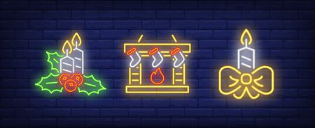 Burning candles and fireplace with socks neon signs set. Christmas, New Year Day, celebration design. Night bright neon sign, colorful billboard, light banner. Vector illustration in neon style.