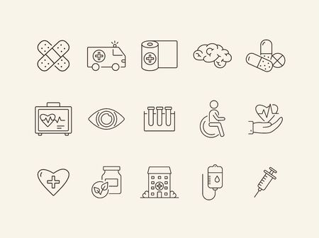 Treatment icons. Set of line icons. Herbal medication, capsules, adhesive plaster. Therapy concept. Vector illustration can be used for topics like medicine, healthcare, medical service Ilustração