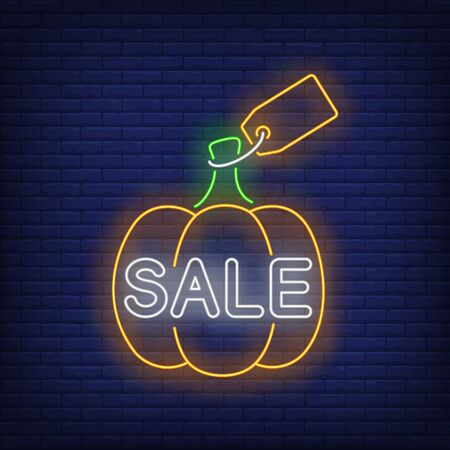 Pumpkin with label neon sign. Glowing neon text. Pumpkin, discounts, Thanksgiving day. Night bright advertisement. Vector illustration in neon style for cafe, restaurant, shop