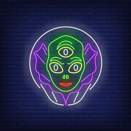Alien head in glass helmet neon sign. Invasion, fantasy, extraterrestrial intelligence design. Night bright neon sign, colorful billboard, light banner. Vector illustration in neon style.