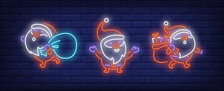 Santa Clauses with sacks of gifts neon signs set. Christmas, New Year Day, celebration design. Night bright neon sign, colorful billboard, light banner. Vector illustration in neon style.