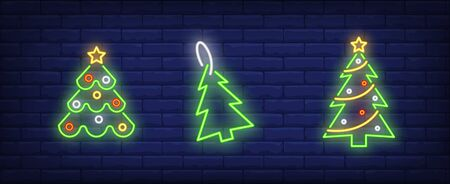 Decorated fir-trees neon signs set. Christmas, New Year Day, celebration design. Night bright neon sign, colorful billboard, light banner. Vector illustration in neon style. Stock Illustratie