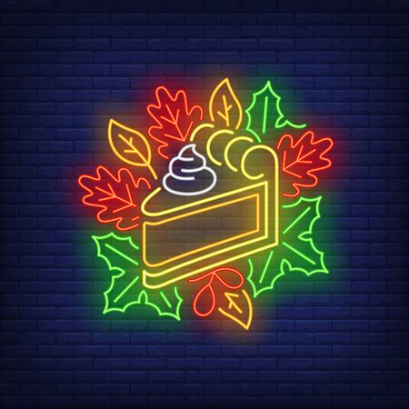 Piece of pumpkin pie in neon style. Glowing neon pie. Pastry, pumpkin, Thanksgiving day. Night bright advertisement. Vector illustration in neon style for cafe and restaurant Stock Illustratie