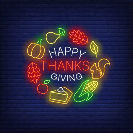 Happy Thanksgiving neon sign. Glowing neon text. Leaves, discounts, Thanksgiving day. Night bright advertisement. Vector illustration in neon style for cafe, restaurant, shop