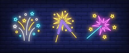 Firework and sparklers neon signs set. Holiday, anniversary, pyrotechnics design. Night bright neon sign, colorful billboard, light banner. Vector illustration in neon style.
