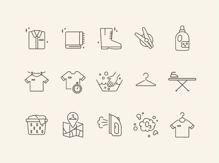 Household line icon set. Housework, clothing, textile. Laundry concept. Can be used for topics like housekeeping, service Standard-Bild - 129576111