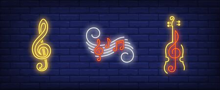 Music notes, treble clef and violin silhouette neon signs set. Melody, classical music, sound design. Night bright neon sign, colorful billboard, light banner. Vector illustration in neon style.