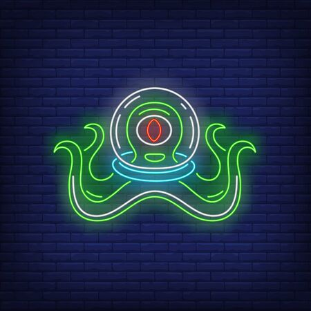 One-eyed non-humanoid alien in glass helmet neon sign. Invasion, fantasy, extraterrestrial intelligence design. Night bright neon sign, colorful billboard, light banner. Illustration in neon style
