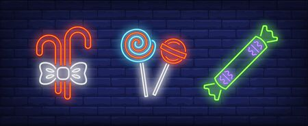 Candy canes, lollipops and sweet neon signs set. Celebration, holiday party design. Night bright neon sign, colorful billboard, light banner. Vector illustration in neon style.