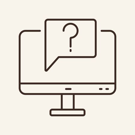 Customer service line icon. Computer, question, problem. Technical support concept. Can be used for topics like technology, faq, feedback Ilustracja