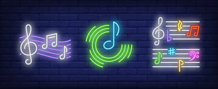 Music notes, stave and treble clefs neon signs set. Melody, classical music, sound design. Night bright neon sign, colorful billboard, light banner. Vector illustration in neon style. Stock Illustratie
