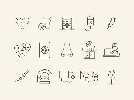 Health post icons. Set of line icons. Online doctor app, tomography, tonometer. Health checkup concept. Vector illustration can be used for topics like medicine, healthcare, medical service Illusztráció