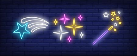 Stars and magic wand neon signs set. Celebration, success, rating design. Night bright neon sign, colorful billboard, light banner. Vector illustration in neon style.