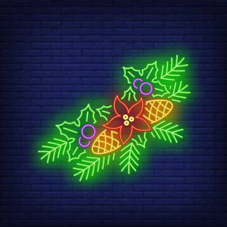 Fir-tree needles and cones, mistletoe, poinsettia neon sign. Christmas and New Year Day decor design. Night bright neon sign, colorful billboard, light banner. Vector illustration in neon style. Çizim