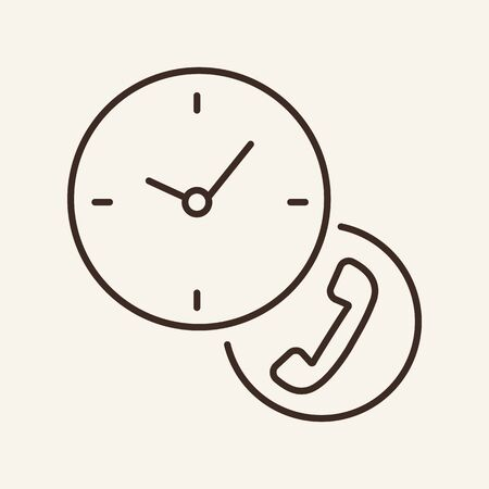 Call center line icon. Telephone receiver, clock, time. Customer service concept. Can be used for topics like telemarketing, communication, hotline 일러스트