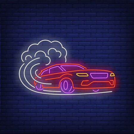 Car increasing speed neon sign. Glowing neon automobile. Race, competition, motor car. Night bright advertisement. Vector illustration in neon style for shop, business