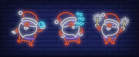 Santa Clauses with snowball and sparklers neon signs set. Christmas, New Year Day design. Night bright neon sign, colorful billboard, light banner. Vector illustration in neon style.