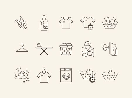 Washing clothes line icon set. Drying, textile, bleaching. Laundry concept. Can be used for topics like housework, laundromat, service Standard-Bild - 129577104