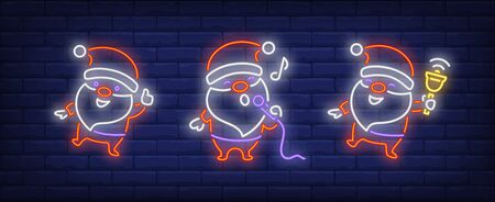 Santa Clauses with bell and microphone neon signs set. Christmas, New Year Day design. Night bright neon sign, colorful billboard, light banner. Vector illustration in neon style.