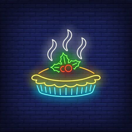 Hot pie neon sign. Glowing neon tart. Pastry, autumn, Thanksgiving day. Night bright advertisement. Vector illustration in neon style for cafe and restaurant Çizim