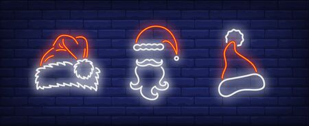 Santa Claus hats, moustaches and beards neon signs set. Christmas, New Year Day, celebration design. Night bright neon sign, colorful billboard, light banner. Vector illustration in neon style. Stock Illustratie