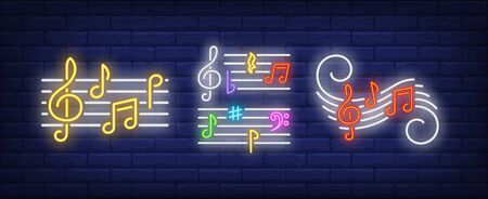 Music notes, treble clefs and stave neon signs set. Melody, classical music, sound design. Night bright neon sign, colorful billboard, light banner. Vector illustration in neon style.