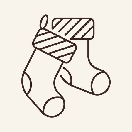 Socks line icon. Winter, coziness, clothes. Winter concept. Vector illustration can be used for topics like winter activities, family vacation, holidays
