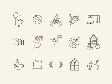 Healthy lifestyle line icon set. Diet, training, Sport concept. Can be used for topics like game, weight loss, gym Çizim