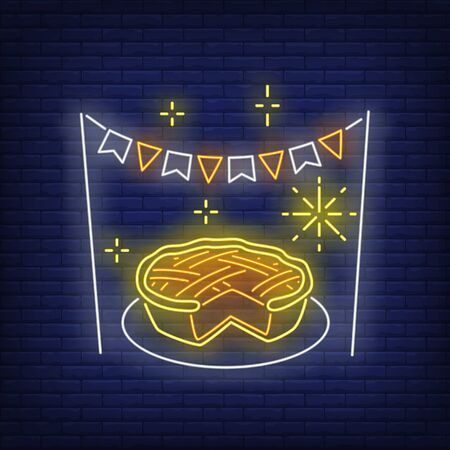 Pumpkin pie in neon style. Glowing neon pie. Pastry, pumpkin, Thanksgiving day. Night bright advertisement. Vector illustration in neon style for cafe and restaurant Çizim