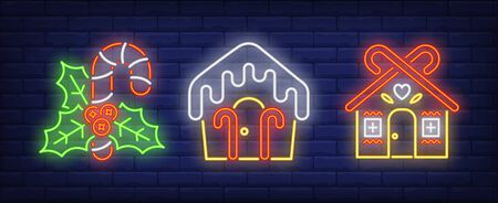 Candy canes and gingerbread houses neon signs set. Christmas, New Year Day, celebration design. Night bright neon sign, colorful billboard, light banner. Vector illustration in neon style. Stock Illustratie
