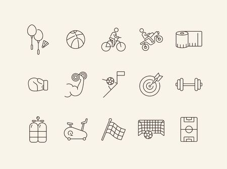 Sport line icon set. Game, competition, exercising. Active lifestyle concept. Can be used for topics like training, leisure, hobby
