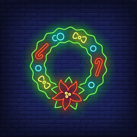 Christmas wreath with poinsettia flower, candy canes neon sign. Christmas and New Year Day decor design. Night bright neon sign, colorful billboard, light banner. Vector illustration in neon style.